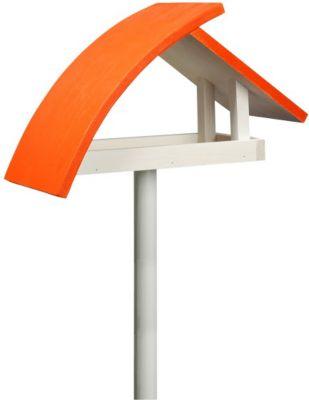 """LUXUS VOGELHAUS Design-Vogelfutterhaus """"New Wave"""" in weiß mit orangenem Dach, inkl. Ständer"""
