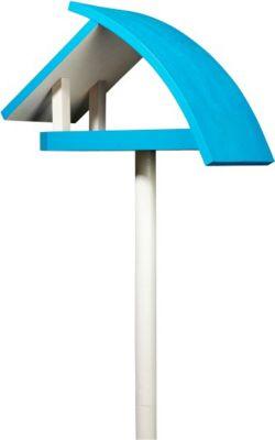 """Vogelfutterstelle """"New Wave"""" aus Kiefernholz, blau/weiß"""