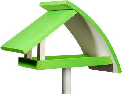 Design-Vogelfutterhaus ´´New Wave´´ in weiß mit hellgrünem Dach, inkl. Ständer