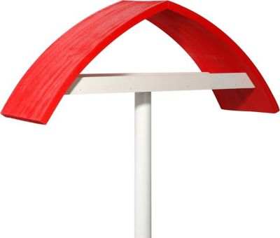 """LUXUS VOGELHAUS Design-Vogelfutterhaus """"New Wave"""" in weiß mit rotem Dach, inkl. Ständer"""