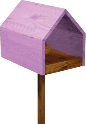 LUXUS VOGELHAUS Dobar Eiche-Vogelfutterhaus mit Satteldach mit Ständer Violett