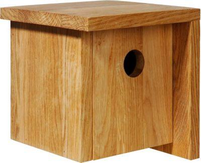 Quadratischer Nistkasten aus Eichenholz u. asymetrischem Dach
