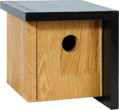 Quadratischer Nistkasten aus Eichenholz u. asymetrischem schwarzen Dach