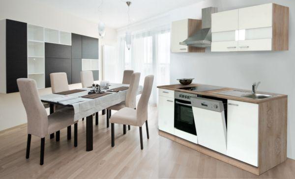 respekta k chenzeile kb220eswc 220 cm wei eiche s gerau nachbildung k che ebay. Black Bedroom Furniture Sets. Home Design Ideas