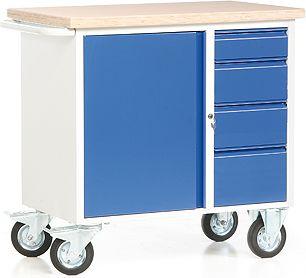 protaurus rotauro fahrbare werkbank mit 1 schrank und 4 schubladen baumarkt xxl. Black Bedroom Furniture Sets. Home Design Ideas