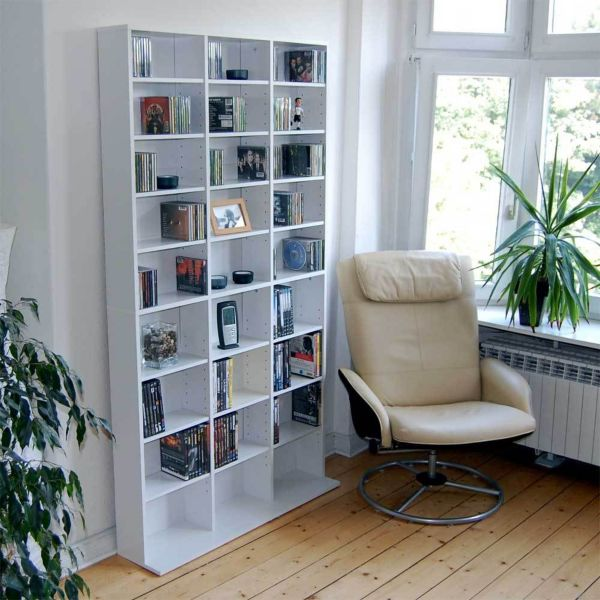 benedomi cd dvd blu ray regal wei raumteiler wandregal schrank b cherregal. Black Bedroom Furniture Sets. Home Design Ideas