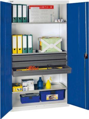 stumpf serie 3000 werkzeugschrank mit 3 schubladen und 3 wannenb den lichtgrau blau 180 x. Black Bedroom Furniture Sets. Home Design Ideas