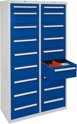 stumpf st 420 plus schubladenschrank mit 18 schubladen lichtgrau blau 180 x 100 x 50 cm. Black Bedroom Furniture Sets. Home Design Ideas