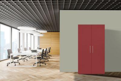 Respekta Schrankküche SKWRMIC weiß rot inkl. Mikrowelle - Pantryauflage mit Glaskeramikkochfeld