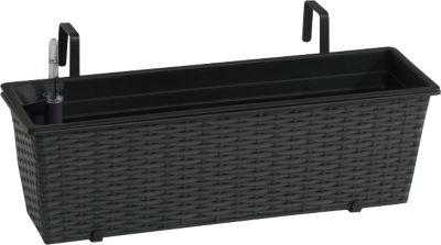 gartenfreude polyrattan balkonkasten mit bew sserungssystem 60x18x18cm anthrazit baumarkt xxl. Black Bedroom Furniture Sets. Home Design Ideas