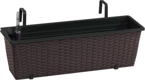 gartenfreude polyrattan balkonkasten mit bew sserungssystem 60x18x18cm ebay. Black Bedroom Furniture Sets. Home Design Ideas