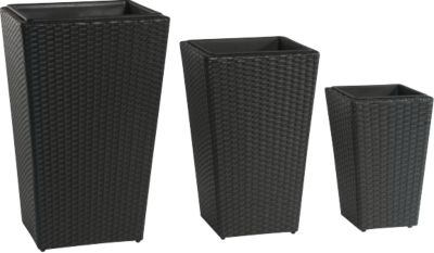gartenfreude pflanzk bel polyrattan 46x46x68cm 37x37x57cm 28x28x40cm schwarz baumarkt xxl. Black Bedroom Furniture Sets. Home Design Ideas
