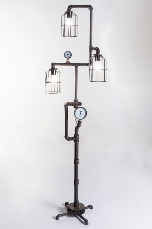 industrie design lampe aus wasserrohren steampunk licht industrial pipe ebay. Black Bedroom Furniture Sets. Home Design Ideas