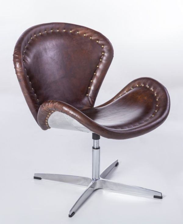 echtleder stuhl vintage egg chair aviator ledersessel design swan ebay. Black Bedroom Furniture Sets. Home Design Ideas