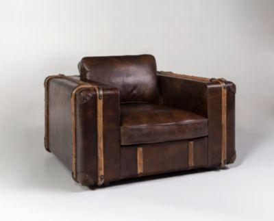 Sessel in Echtleder, Kofferoptik