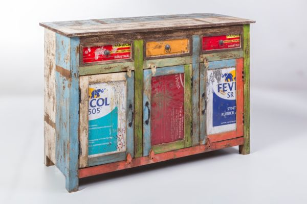kommode recycled wood bunt sideboard used look vintage upcycling m bel. Black Bedroom Furniture Sets. Home Design Ideas