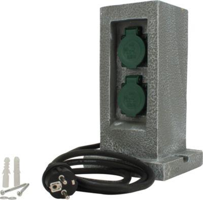 Unitec  44243 Steckdosenverteiler in Granitoptik mit 2 Steckdosen und Zeitschaltuhr