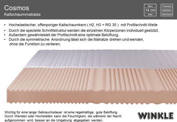 winkle kaltschaummatratze cosmos h2 h3 kaltschaum matratze schaummatratze ebay. Black Bedroom Furniture Sets. Home Design Ideas