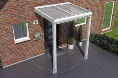 REXOvita Haustür-Vordach 150 x 100 cm weiß mit Stegplatten