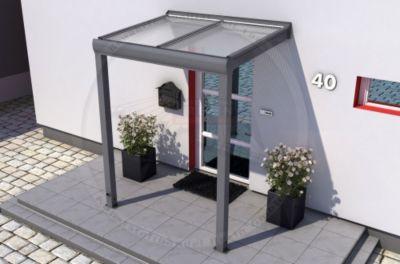 REXOvita Haustür-Vordach 150 x 100 cm anthrazit mit Stegplatten