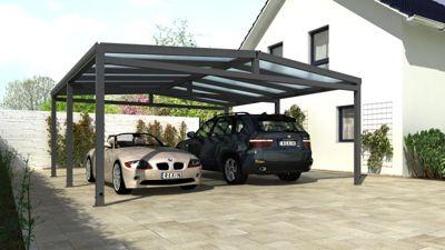REXOport Alu-Carport 512 x 506 cm anthrazit mit Stegplatten