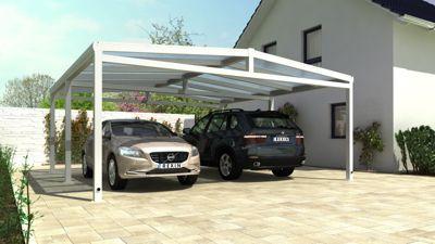 REXOport Alu-Carport 613 x 606 cm weiß mit Stegplatten