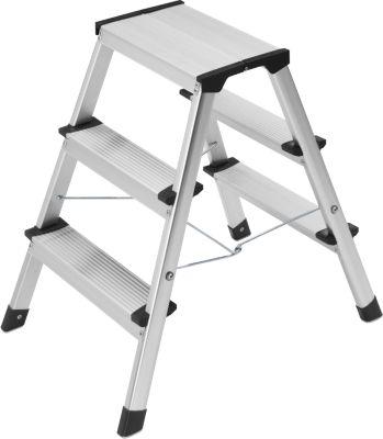 Hailo  Alu-Sicherheits-Doppelstufenleiter 2 x 3 Stufen