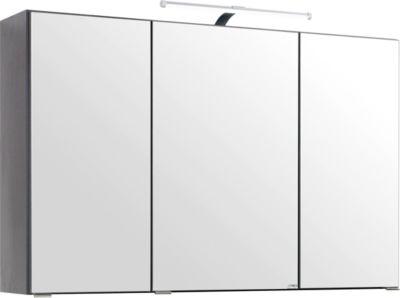 Florida 3D Spiegelschrank inkl. Beleuchtung - 100 cm - Eiche-Rauchsilber/Graphitgrau