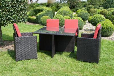Garden Pleasure 9-tlg. Gartenmöbelset »Marseille«, 4 Sessel + Auflagen, Tisch 114x114 cm, Polyrattan, braun