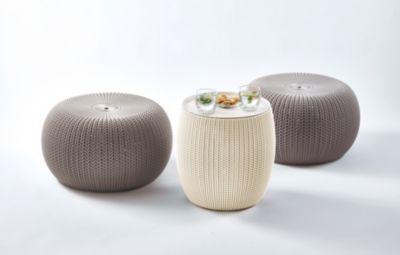Keter 3-tgl. Gartenmöbelset »Cozy Urban«, 2 Sitzpuffs,TischØ 40,6 cm, Kunststoff, taupe/creme