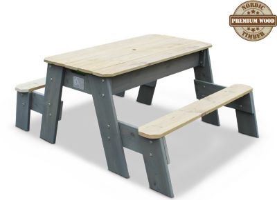 Aksent Sand-, Wasser- und Picknicktisch, 2 Sitzflächen inkl. Sonnenschirm und Gartenwerkzeug