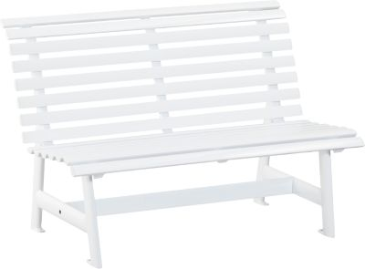 Alu-Gartenbank, 2-Sitzer weiß