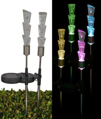 Solar LED-Leuchte Fackel mit Farbwechsler, 3er-Set