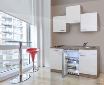 Respekta Küchenzeile KB150ESW 150 cm Weiß-Eiche Sägerau Nachbildung