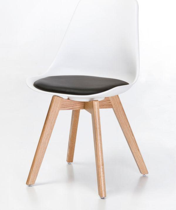 retro schalenstuhl eiche stuhl st hle kunststoff 70er bunt mit kissen ebay. Black Bedroom Furniture Sets. Home Design Ideas