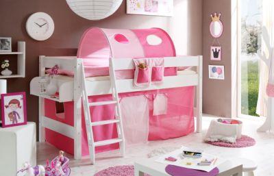 Hochbett Kenny G Kiefer Weiß rosa-pink