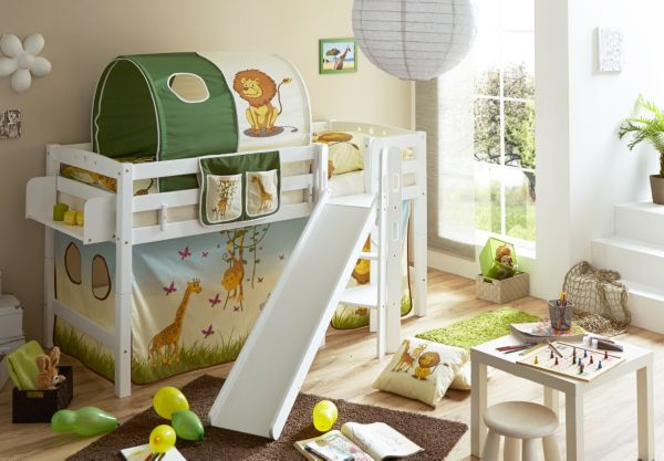 ticaa podestbett mit rutsche tino kinderbett hochbett spielbett einzelbett. Black Bedroom Furniture Sets. Home Design Ideas
