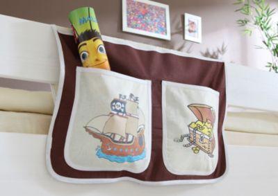 Bett-Tasche für Hoch- und Etagenbetten Pirat braun-beige