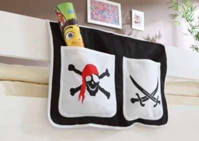 Bett-Tasche für Hoch- und Etagenbetten Pirat schwarz-weiß