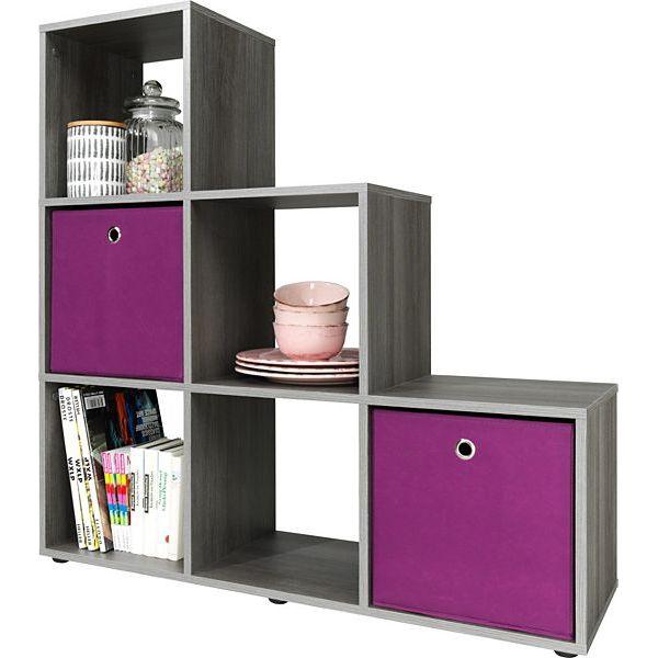 cs schmal treppenregal 6 f cher versch farben raumteiler stufenregal regal ebay. Black Bedroom Furniture Sets. Home Design Ideas
