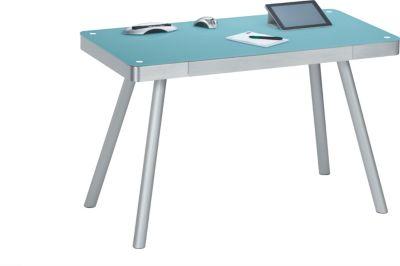Schreibtisch 5000 Alu gebürstet mit Glasplatte
