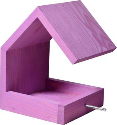 LUXUS VOGELHAUS Dobar Design-Vogelfutterhaus mit Satteldach Violett