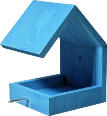 LUXUS VOGELHAUS Dobar Design-Vogelfutterhaus mit Satteldach Blau