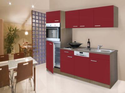 Respekta Küchenzeile KB205EYR 205 cm Rot-Eiche York Nachbildung