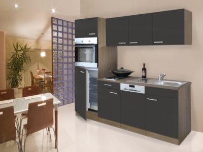 Respekta Küchenzeile KB205EYG 205 cm Grau-Eiche York Nachbildung