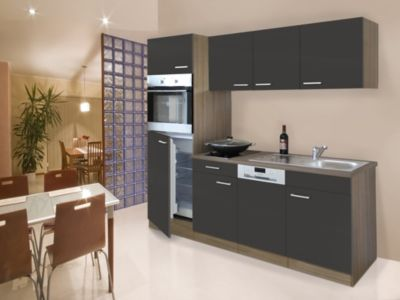 Respekta Küchenzeile KB205EYGC 205 cm Grau-Eiche York Nachbildung