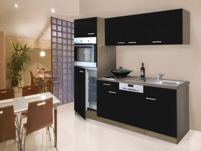 Respekta Küchenzeile KB205EYS 205 Cm Schwarz Eiche York Nachbildung