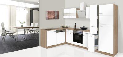 Respekta Winkelküche KBL310ESWSC 310 cm Weiß-Eiche Sonoma Nachbildung