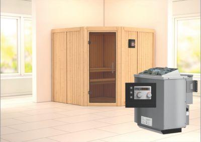 Karibu Jarin Systemsauna mit graphitfarbener Glastür im Sparset ohne Zierkranz  inkl  9kW Bio Ofen ext  Steuerung
