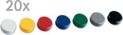 Facetterand-Magnet MAULpro, Ø 30 x 10 mm, 0,6 kg Haftkraft, 20 St./Set - farb. sortiert